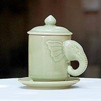 Celadon ceramic cup and saucer, 'Chiang Mai Elephant' - Celadon Ceramic Elephant Cup and Saucer from Thailand