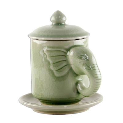 Celadon Ceramic Elephant Cup and Saucer from Thailand