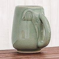 Celadon ceramic mug, 'Morning Elephant in Green' - Ceramic Celadon Elephant Mug in Green from Thailand