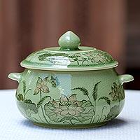 Celadon ceramic soup bowl, 'Lotus Bouquet' - Celadon Ceramic Floral Soup Bowl with Lid from Thailand