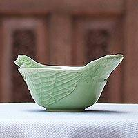 Celadon ceramic bowl, 'Chiang Mai Chicken' - Hand Crafted Celadon Ceramic Chicken Bowl from Thailand