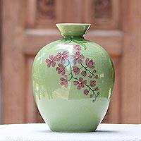 Celadon ceramic vase, 'Round Garden' - Hand Crafted Celadon Ceramic Floral Vase from Thailand