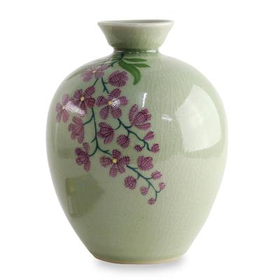 Unicef Market Hand Crafted Celadon Ceramic Floral Vase