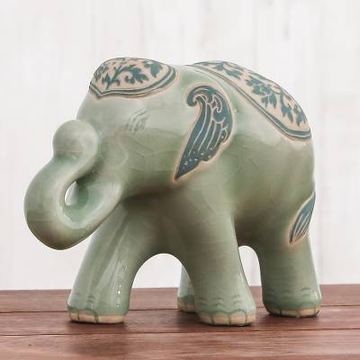 Celadon ceramic sculpture, 'Prestigious Elephant' - Celadon Ceramic Sculpture of an Elephant from Thailand