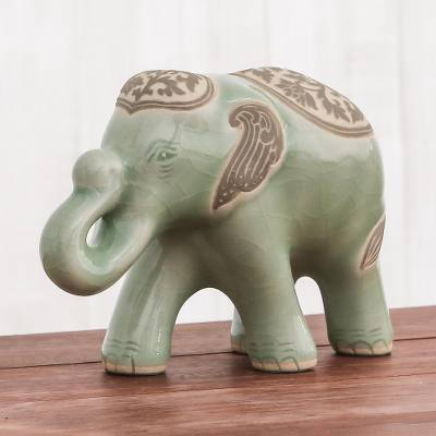 Celadon ceramic sculpture, 'Prestigious Elephant in Olive' - Celadon Ceramic Sculpture of an Elephant from Thailand