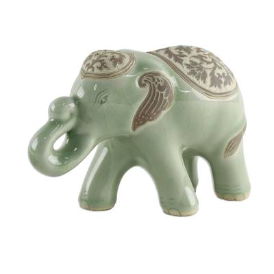 Celadon Ceramic Sculpture of an Elephant from Thailand