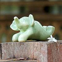 Celadon ceramic sculpture, 'Funny Elephant' - Celadon Ceramic Sculpture of an Elephant from Thailand