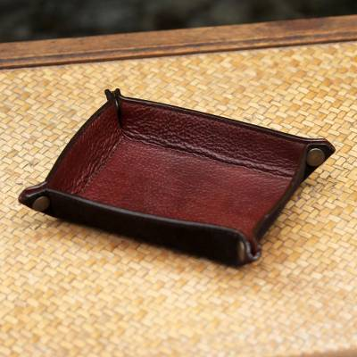 Leather catchall, 'Russet Espresso' - Handcrafted Thai Leather Catchall in Russet and Espresso