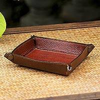 Leather catchall, 'Ginger Russet' - Handcrafted Thai Leather Catchall in Russet and Ginger