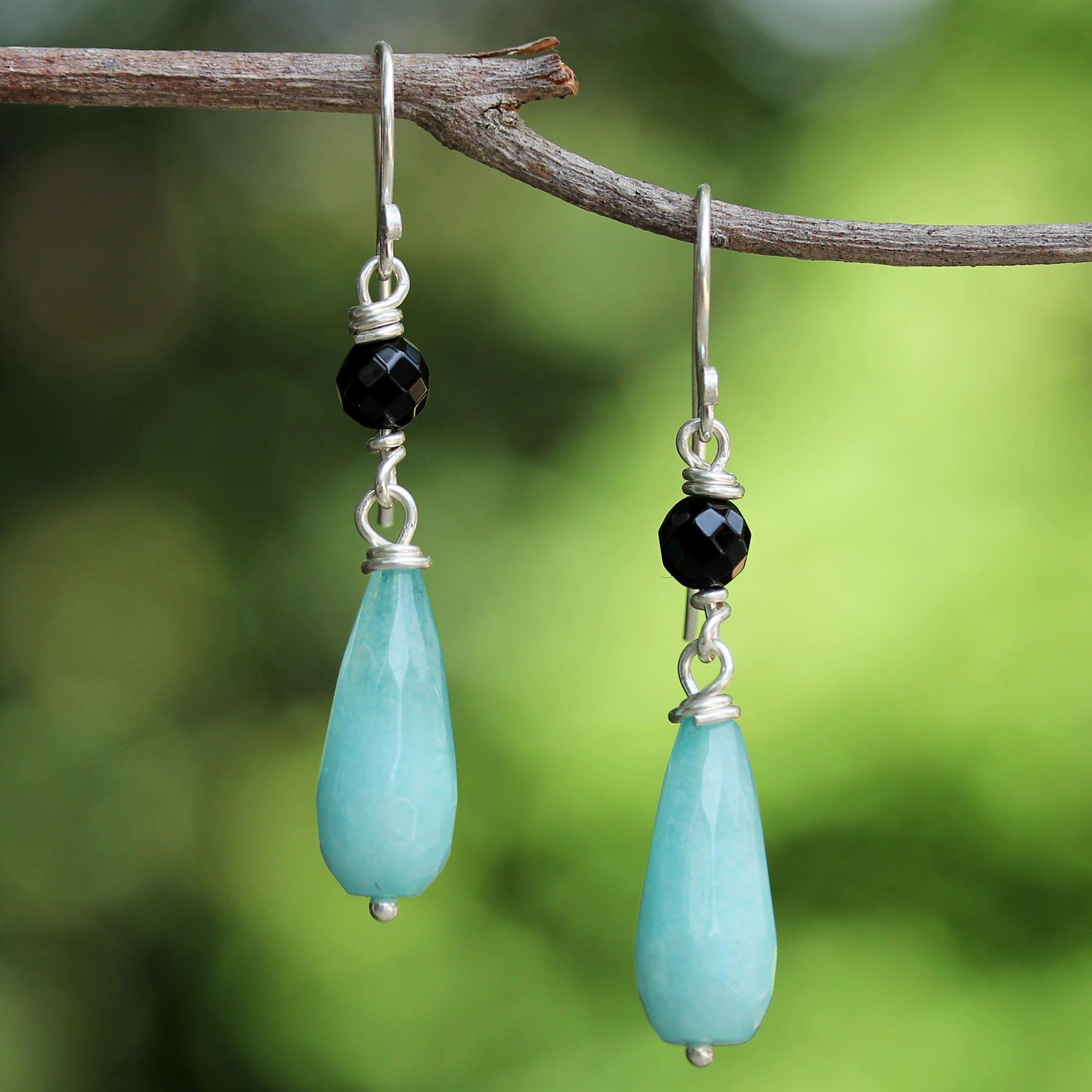 787bf565e Onyx and Blue Quartz Dangle Earrings from Thailand - Mountain Rain ...