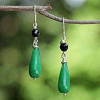 Quartz and onyx dangle earrings, 'Lush Green' - Onyx and Green Quartz Beaded Dangle Earrings from Thailand