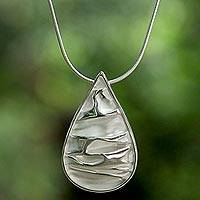 Sterling silver pendant necklace, 'Crinkled Drop' - Sterling Silver Modern Teardrop Thai Pendant Necklace