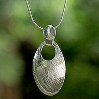 Sterling silver pendant necklace, 'Abstract Space' - Sterling Silver Modern Egg Shaped Thai Pendant Necklace
