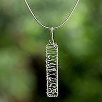 Sterling silver pendant necklace, 'Chiang Mai River' - Sterling Silver Rectangular Wire Thai Pendant Necklace