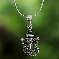 Sterling silver pendant necklace, 'Spirit of Ganesha' - Sterling Silver Ganesha Pendant Necklace from Thailand