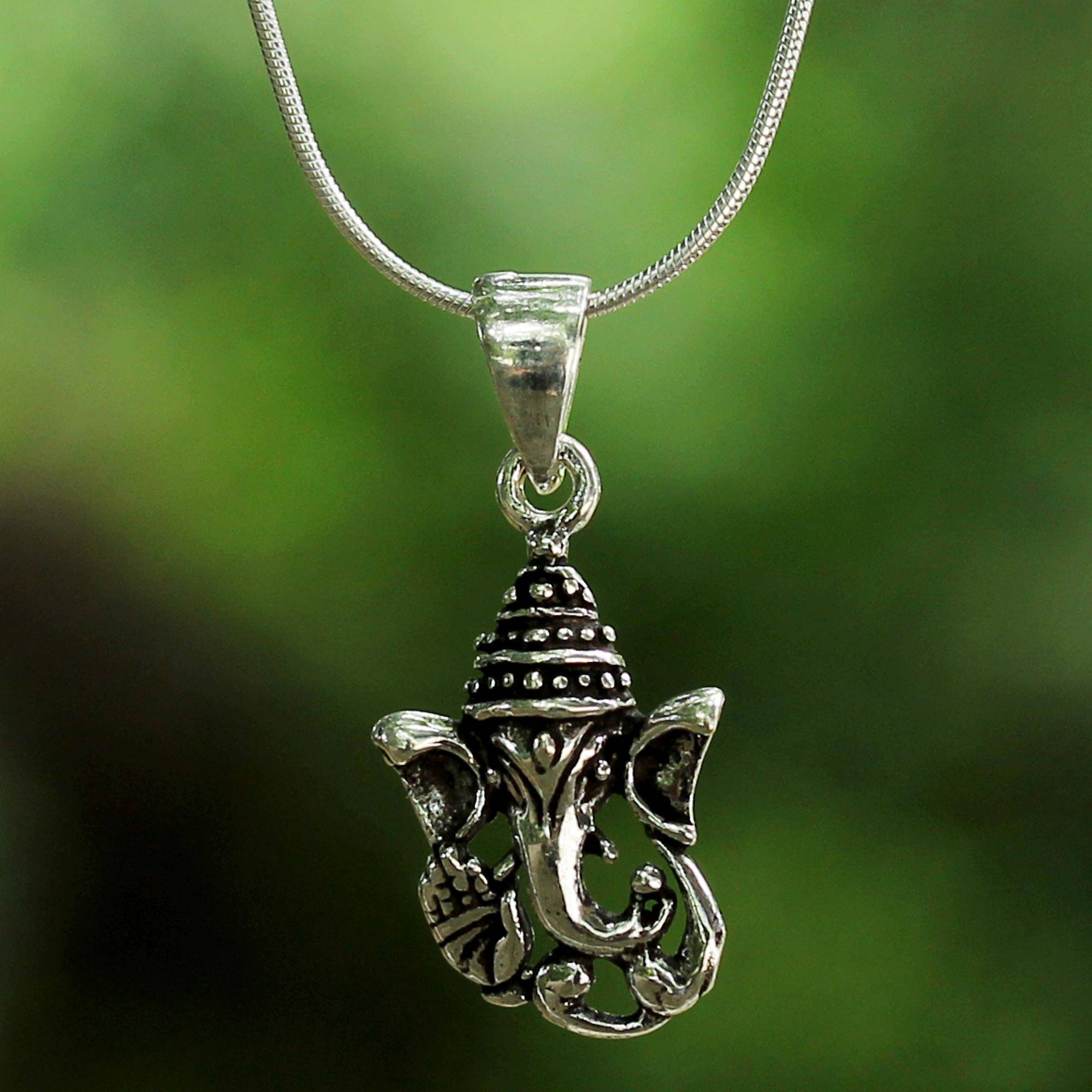 9710231ed Sterling Silver Ganesha Pendant Necklace from Thailand,