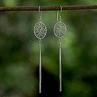 Sterling silver dangle earrings, 'Promise of Dreams' - Sterling Silver Wire Motif Dangle Earrings from Thailand