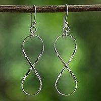 Sterling silver dangle earrings, 'Infinite Charm' - Sterling Silver Infinity Symbol Thai Dangle Earrings