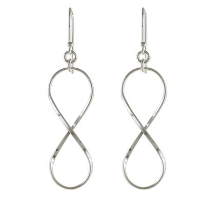 Sterling Silver Infinity Symbol Thai Dangle Earrings