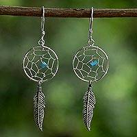 Sterling silver dangle earrings, 'Catching a Dream' - Sterling Silver Dream Catcher Dangle Earrings from Thailand