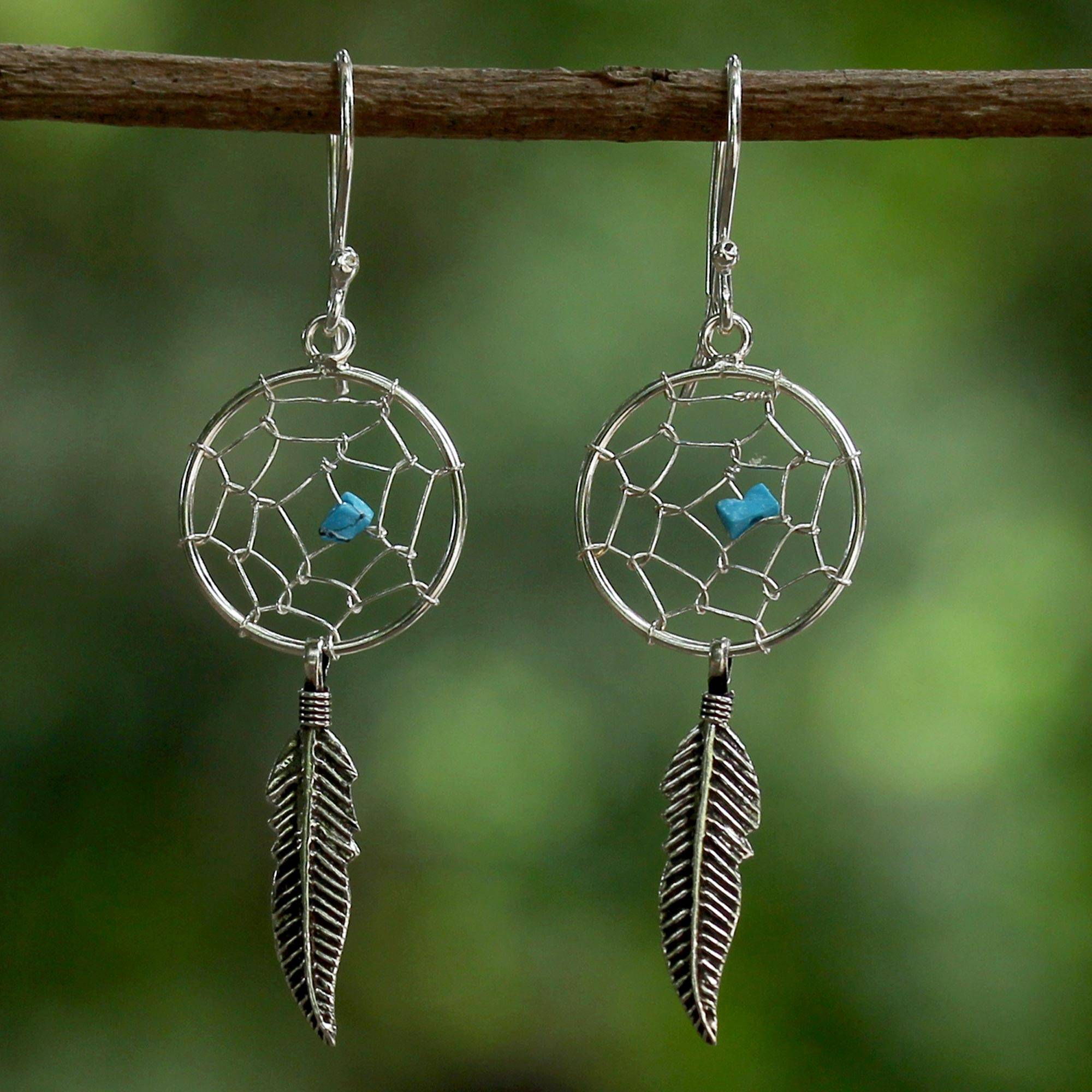 Sterling Silver and Sterling Silver Plated Dream Catcher Earrings