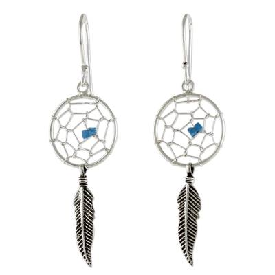 Sterling Silver Dream Catcher Dangle Earrings from Thailand