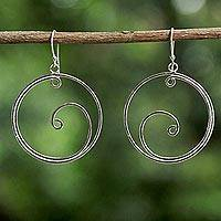 Sterling silver dangle earrings, 'Moon Crests' - Sterling Silver Openwork Swirl Thai Dangle Earrings