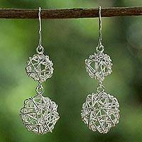 Sterling silver dangle earrings, 'Planet Nests' - Sterling Silver Wire Ball Dangle Earrings from Thailand