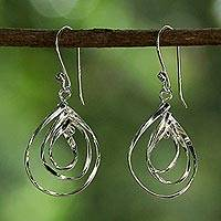 Sterling silver dangle earrings, 'Dewy Trio' - Sterling Silver Triple Teardrop Thai Dangle Earrings