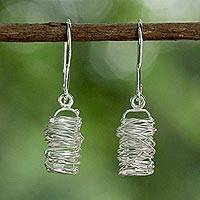 Sterling silver dangle earrings, 'Hidden Secrets' - Sterling Silver Wire Work Dangle Earrings from Thailand