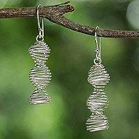 Sterling silver dangle earrings, 'Spirals of Life' - Sterling Silver Helix Shaped Dangle Earrings from Thailand