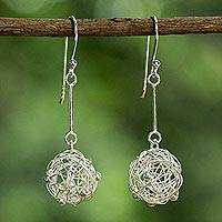 Sterling silver dangle earrings, 'Moon Nests' - Sterling Silver Wire Ball Dangle Earrings from Thailand