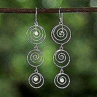 Sterling silver dangle earrings, 'Shining Spirals' - Sterling Silver Openwork Spiral Thai Dangle Earrings