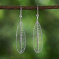 Sterling silver dangle earrings, 'Frangipani Veins' - Sterling Silver Openwork Dangle Earrings from Thailand