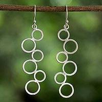 Sterling silver dangle earrings, 'Connected Circles' - Sterling Silver Circle Motif Dangle Earrings from Thailand