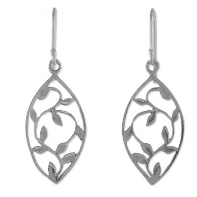 Sterling Silver Openwork Leaf Dangle Earrings from Thailand
