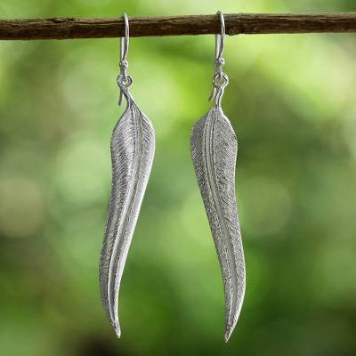 Sterling silver dangle earrings, 'Precious Feathers' - Sterling Silver Feather Dangle Earrings from Thailand