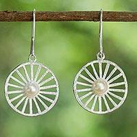 Cultured pearl dangle earrings, 'Moonlight Wheels' - Sterling Silver Cultured Pearl Dangle Earrings from Thailand