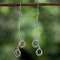 Sterling silver dangle earrings, 'Fun in the Summer' - Sterling Silver Artistic Dangle Earrings from Thailand