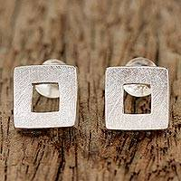 Sterling silver drop earrings, 'Square Portals' - Sterling Silver Brushed Satin Square Thai Drop Earrings