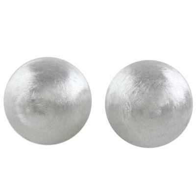 Sterling Silver Brushed Satin Stud Earrings from Thailand