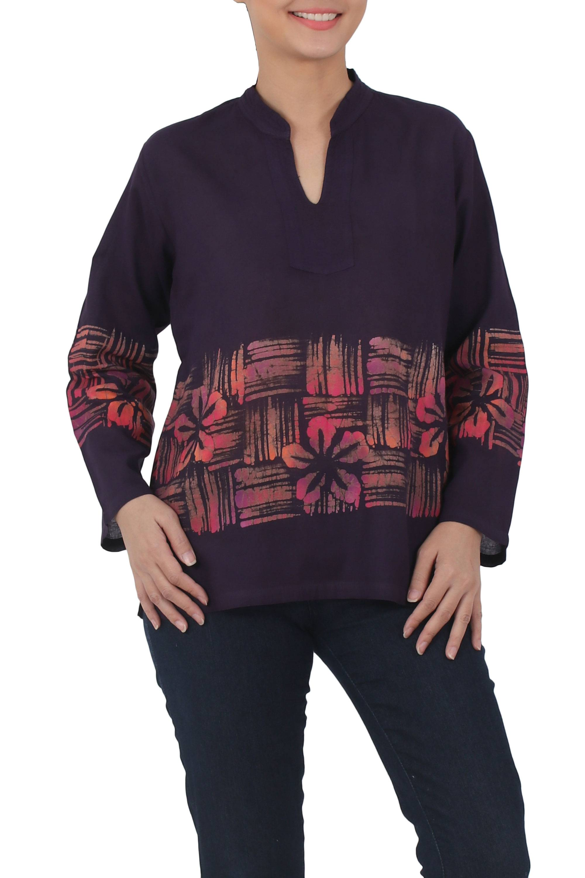 Handmade thai long sleeved cotton blouse with batik pattern handmade thai long sleeved cotton blouse with batik pattern island evenings novica biocorpaavc