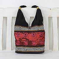 Cotton shoulder bag, 'Crimson Wine' - Cotton Thai Style Shoulder Bag in Crimson and Black