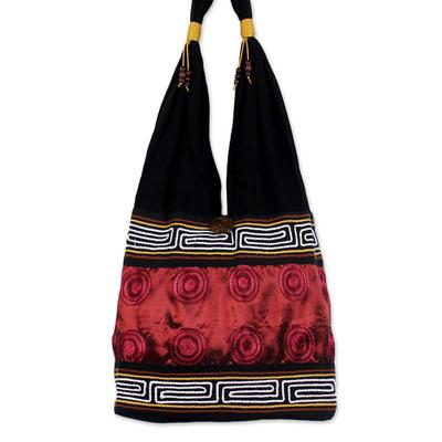 Novica Cotton shoulder bag, Tribal Crimson