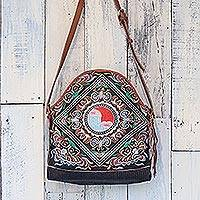 Leather accent cotton shoulder bag, 'Happy Balance' - Thai Leather Accent Cotton Shoulder Bag with Floral Motifs
