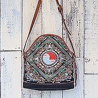 Leather accent cotton shoulder bag, 'Happy Balance' - Thai Leather Accent Cotton Shoulder Bag with Floral Motifs