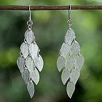 Sterling silver chandelier earrings, 'Shimmering Ash Leaves' - Handcrafted Thai Sterling Silver Leaves Chandelier Earrings