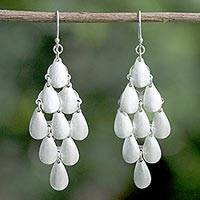 Sterling silver dangle earrings, 'Rainy Diamonds' - Thai Sterling Silver Shimmering Drop Dangle Earrings