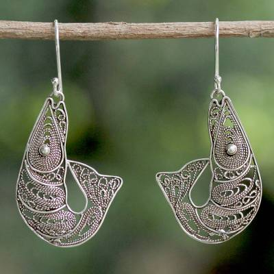Sterling silver filigree dangle earrings, 'Afternoon Catch' - Sterling Silver Filigree Shrimp Earrings from Thailand