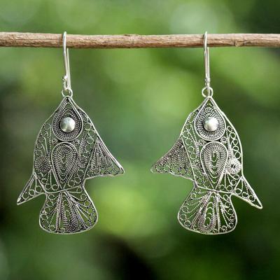Sterling Silver Dangle Earrings Fish Filigree